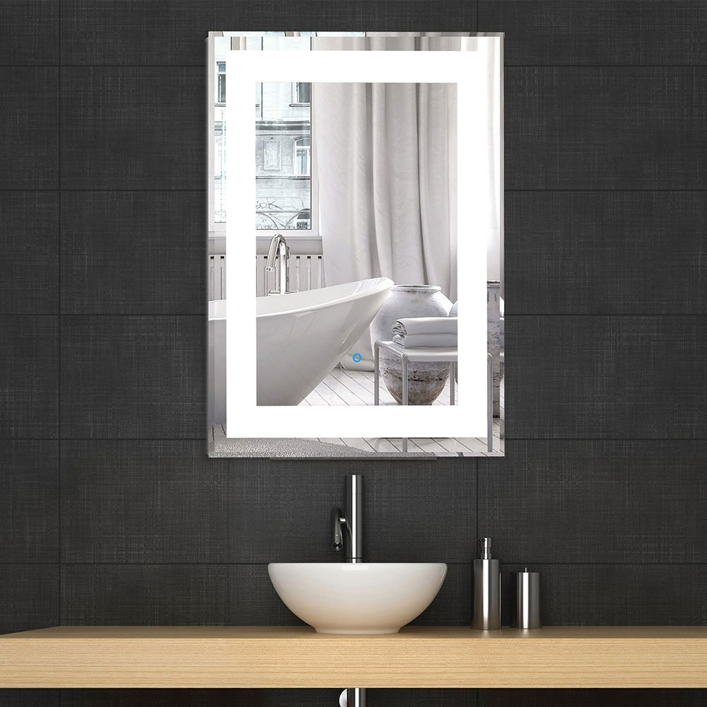 Amazon Decoraport Vertical Rectangle LED Bathroom Mirror Illuminated Lighted Vanity Wall Mounted 2432 Yj 2268h Home Kitchen