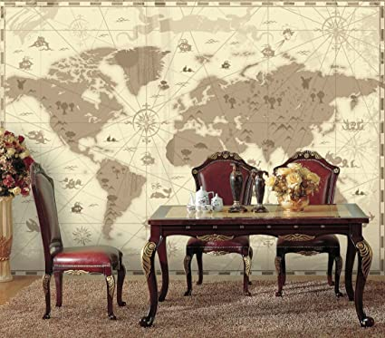 Amazon.com: wall26 Brown Vintage World Map with Compass and Fun Cute ...