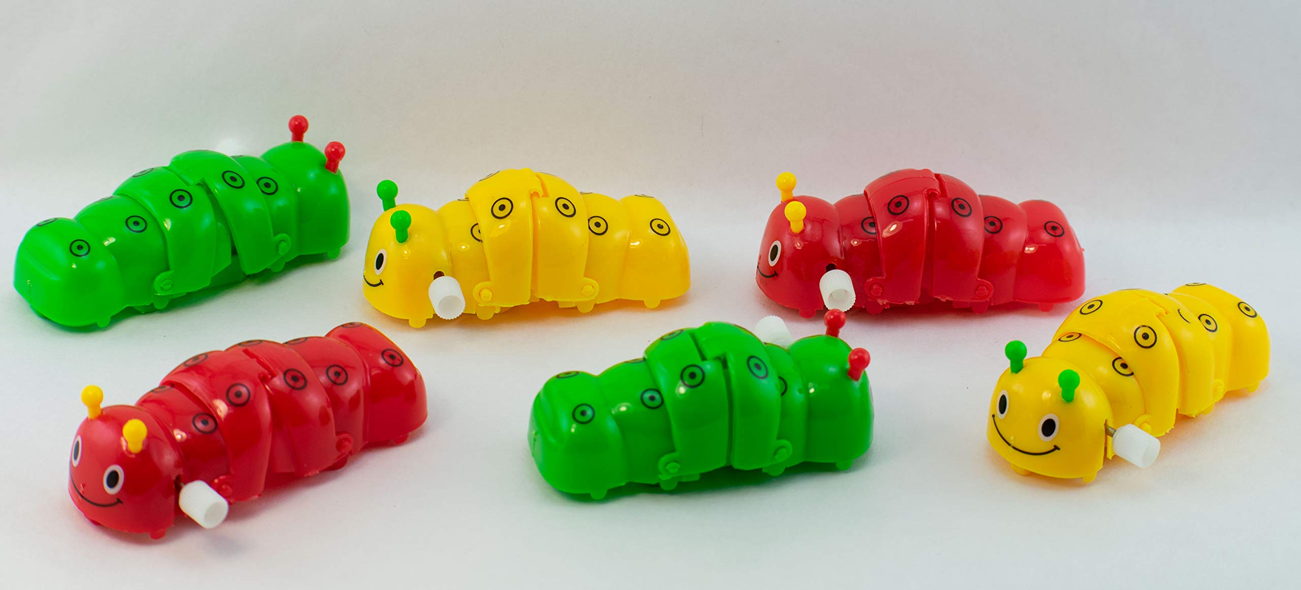 Giggle Time Wind-Up Caterpillar Assortment - (24) Pieces - Assorted Bright Colors - for Kids, Boys and Girls, Party Favors, Pinata Stuffers, Children's Gift Bags, Carnival Prizes