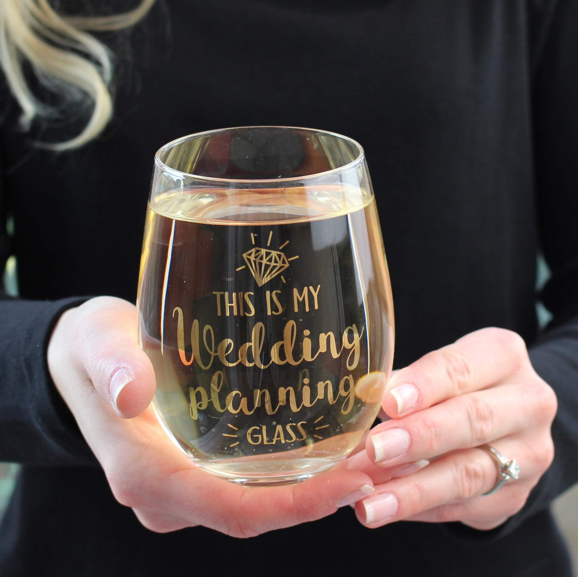 Lillian Rose G117 WP Wedding Planning Stemless Wine Glass, 4.75'' H Gold by Lillian Rose (Image #4)