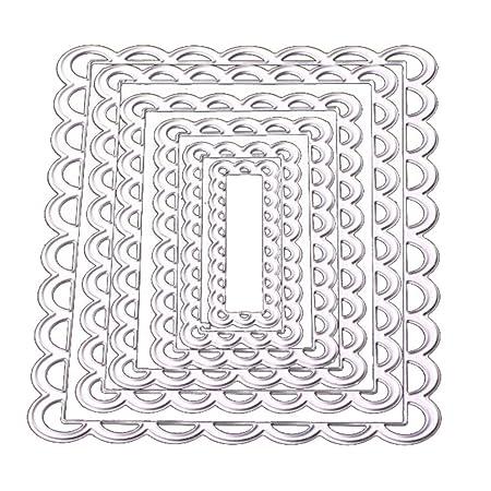 VALUEU 4pcs Encaje Borde c/írculo Marco de Metal de Corte Mueren Plantillas para DIY /álbum de Scrapbooking Grabado en Relieve a Mano en Tarjetas de Papel