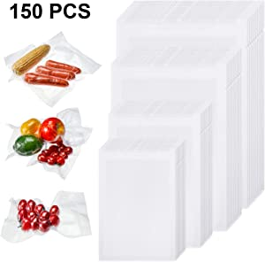 Outus 150 Pieces 4 x 6 Inch, 6 x 8 Inch, 8 x 10 Inch, 8 x 12 Inch Vacuum Heat-Seal Bags Pre-Cut Seal Bag Vacuum Sealer Bags for Kitchen Food Preservation Supplies