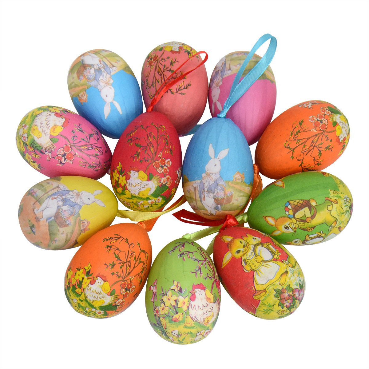 12pcs New Vintage Style Paper Mache Egg Hanging Ornaments Easter Decoration Gardeningwill