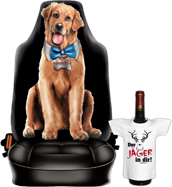 Mini Flaschenshirt Funny Dog Hund Motiv Bezug Goodman Design  Autositzbezug Fotodruck Motiv Geschenk-Set Autositzschoner
