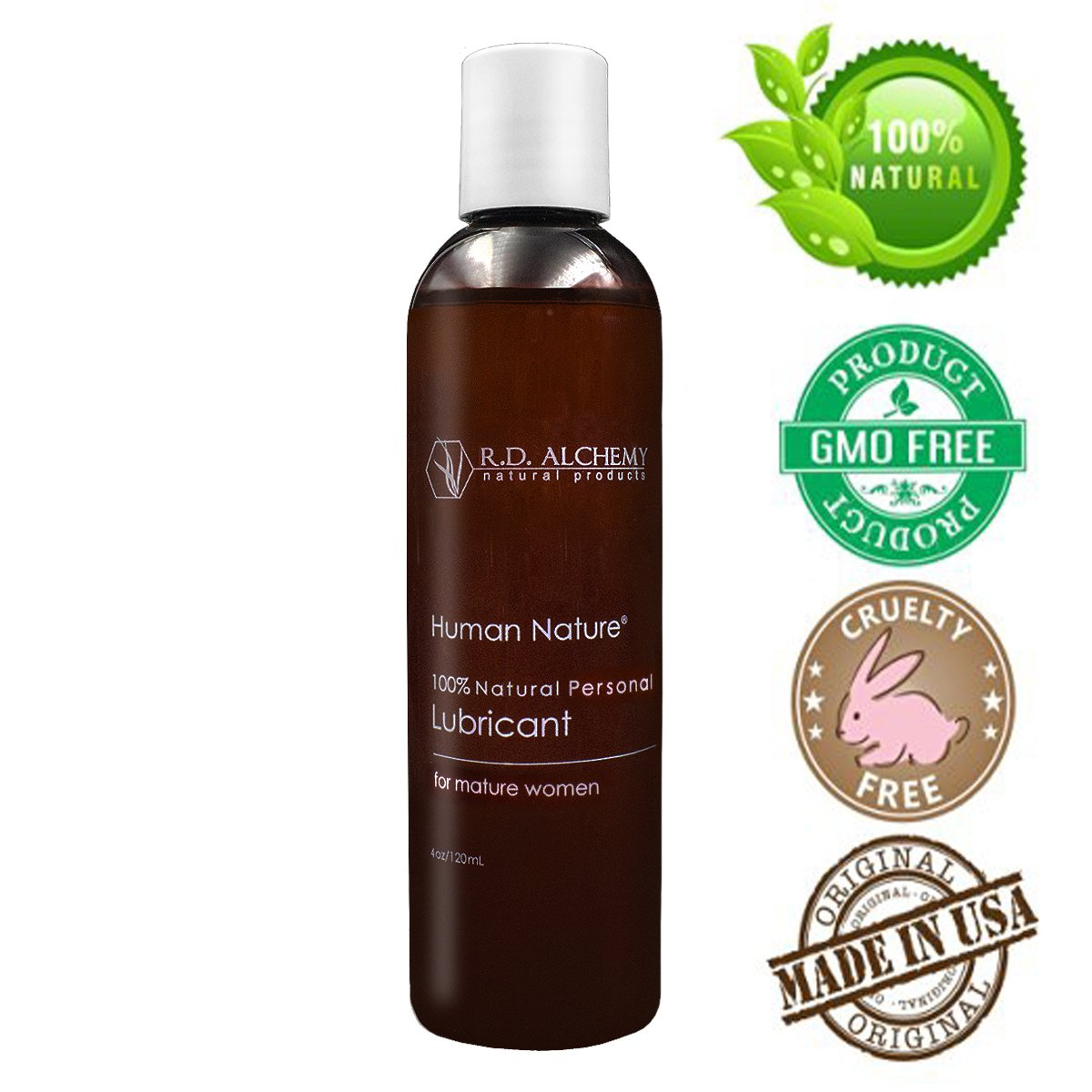 100% Natural & Organic Moisturizer and Personal Lubricant for Dryness in Mature Women. Long-lasting feminine lubrication for personal use and Sex. NON Sticky! (4 Fl Oz, Regular)