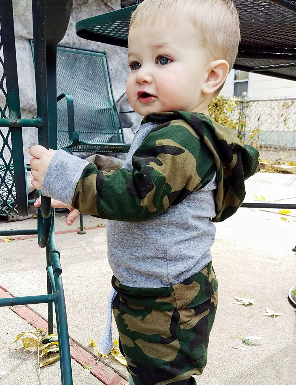 Toddler Infant Baby Boy Camouflage Clothes Hooded T-Shirt Tops + Pants Outfit Sets NewZhu