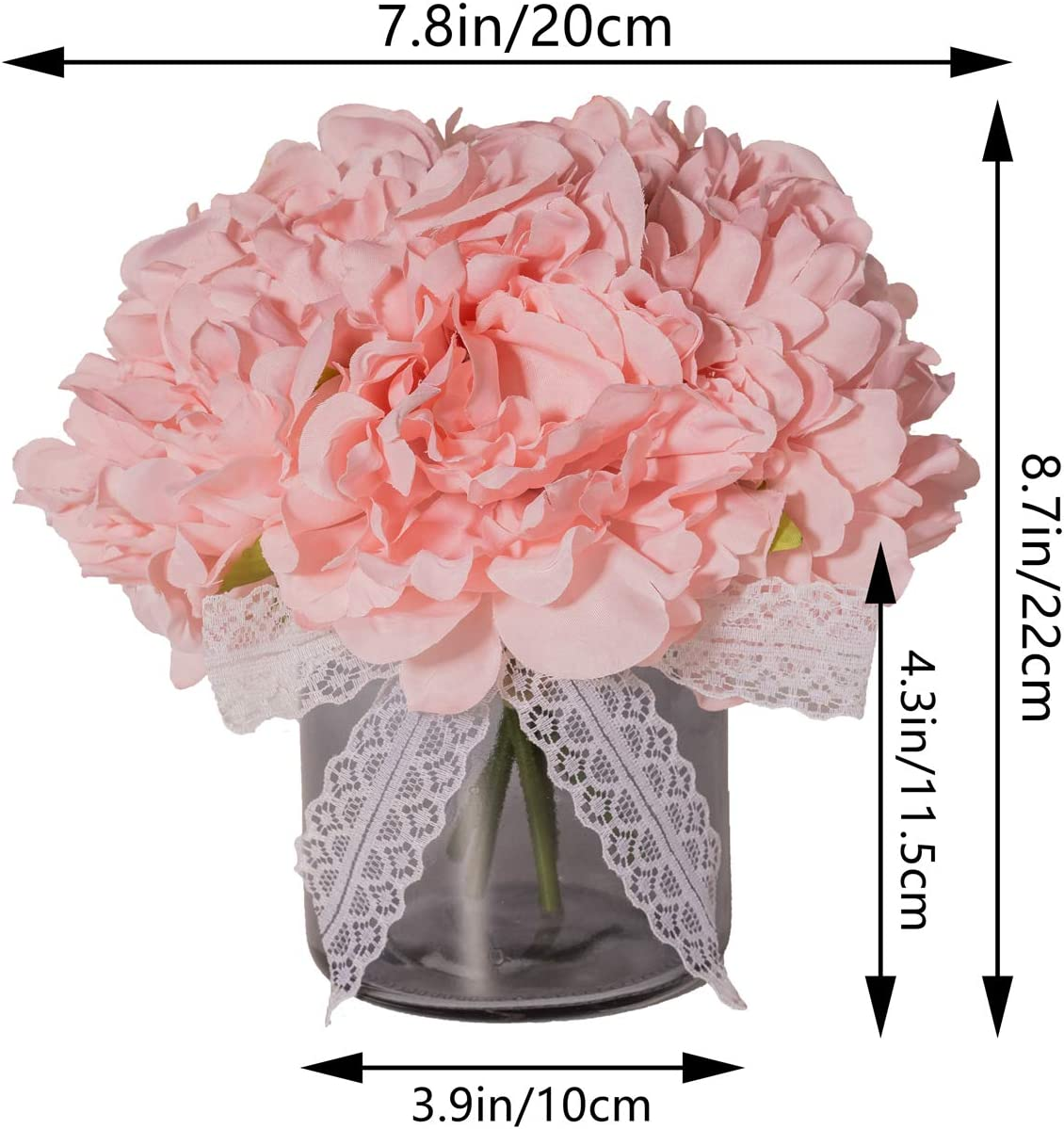 Amazon Com Moonlight Artificial Flowers With Vase Table Decor Fake Peony Flowers In Gray Vase Faux Flower Arrangements For Home Decor Light Pink Small Home Kitchen