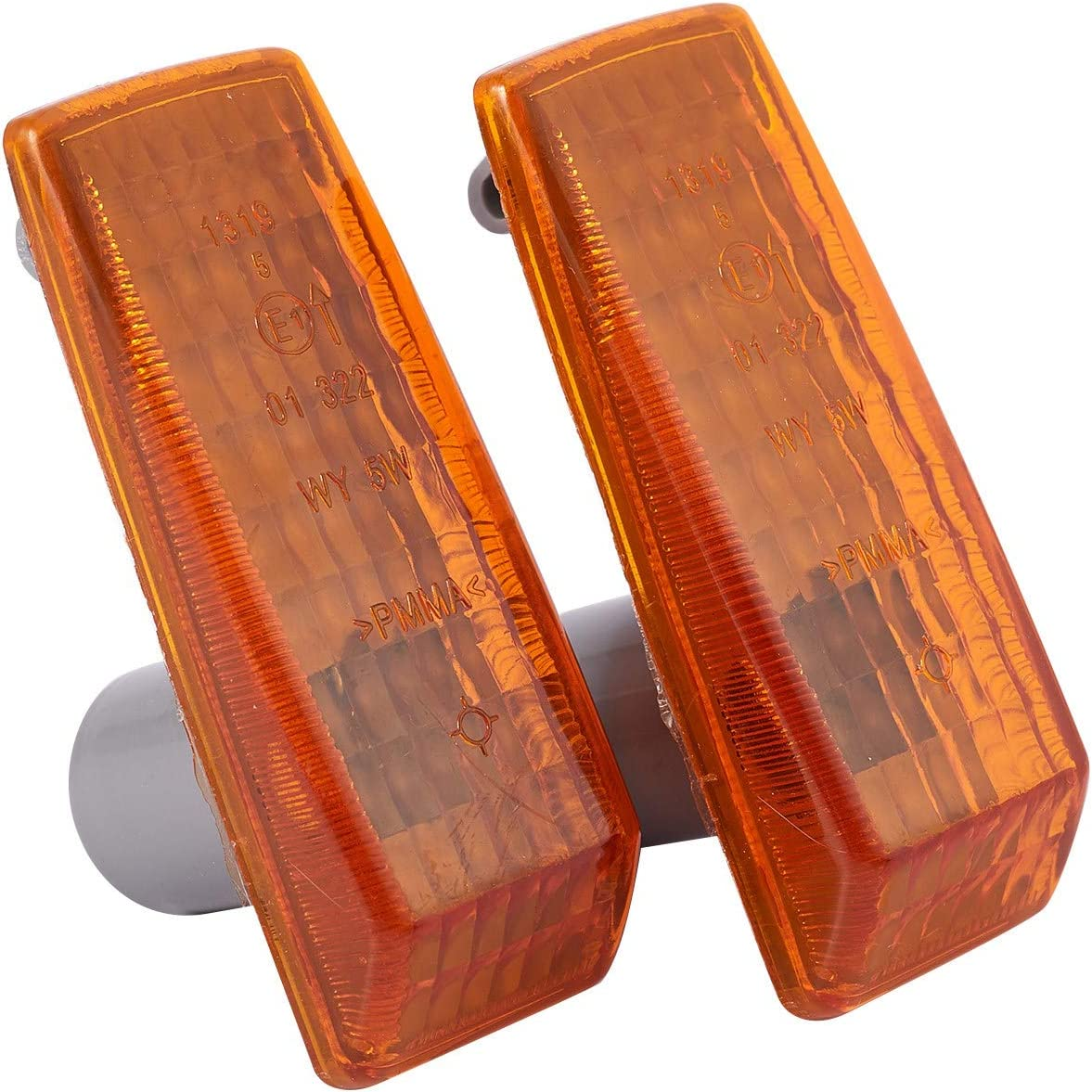Nrpfell 2Pcs Car Turn Signal Light Indicator Repeater Lamp Cover Yellow for Mercedes W124 R129 W140 W202 W201
