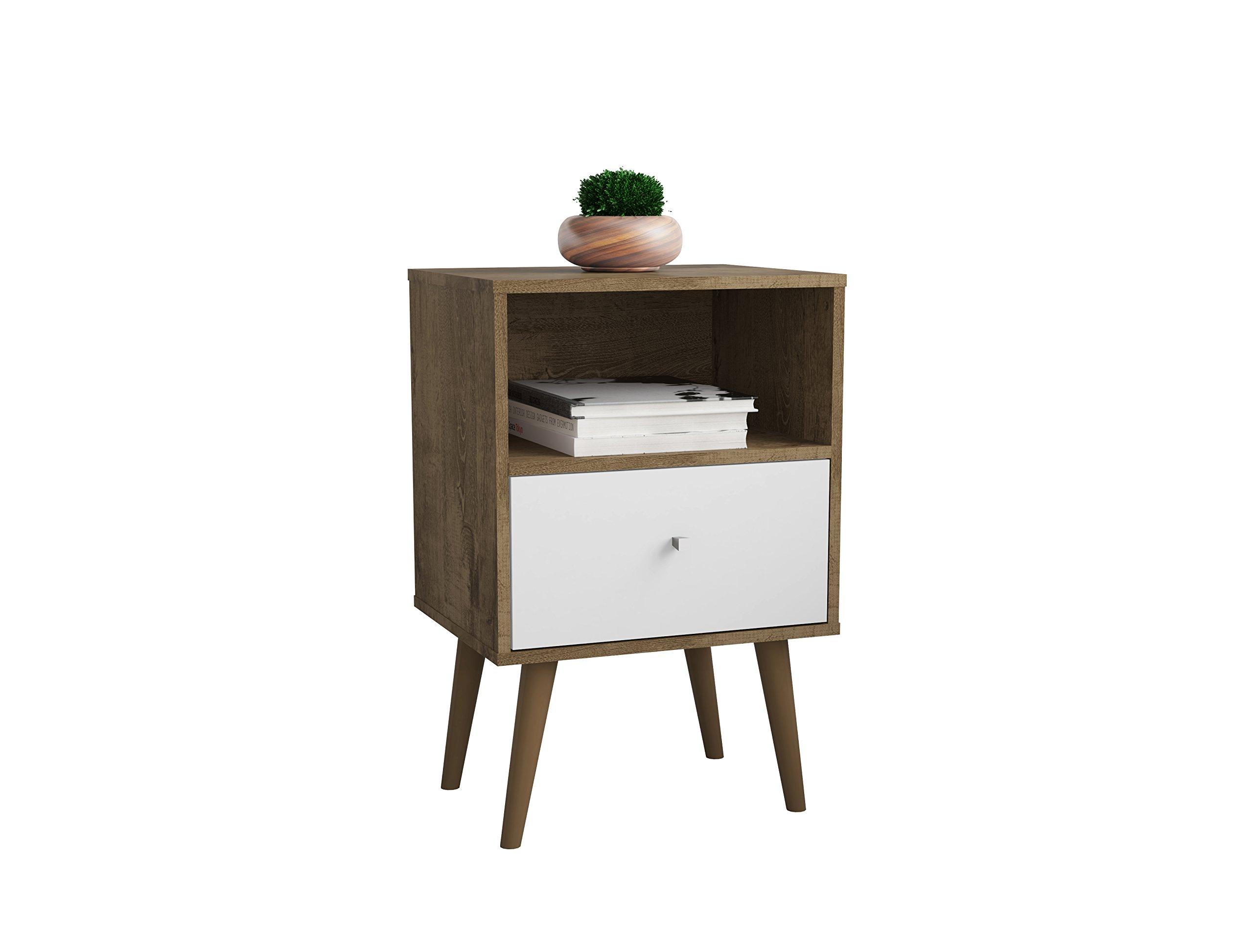 Manhattan Comfort 203AMC96 Liberty Modern 1 Drawer Bedroom Nightstand/End Table, Rustic Brown/White