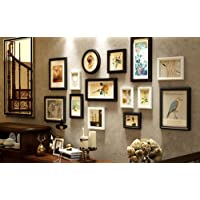 Qi Solid Wood Photo Wall Creative Combination Decoration Photo Frame Living Room Retro Background Photo Wall 14 Pieces (Size: 155*73Cm),A