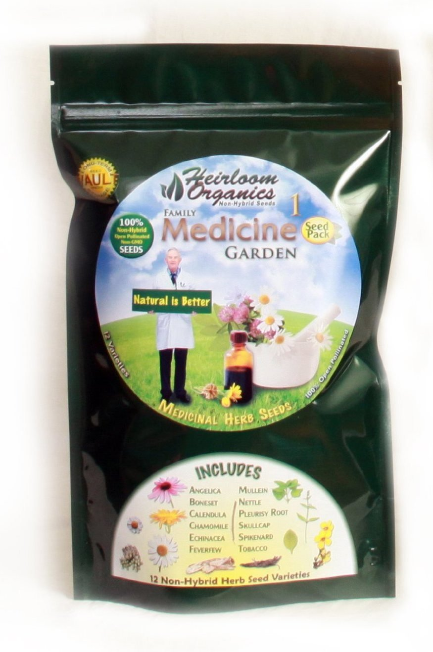 Heirloom Organics NON-GMO Family Medicine Herb Seed Pack - 12 Varieties Medicinal Non-Hybrid Herb Seeds - Sealed for Long Term Storage