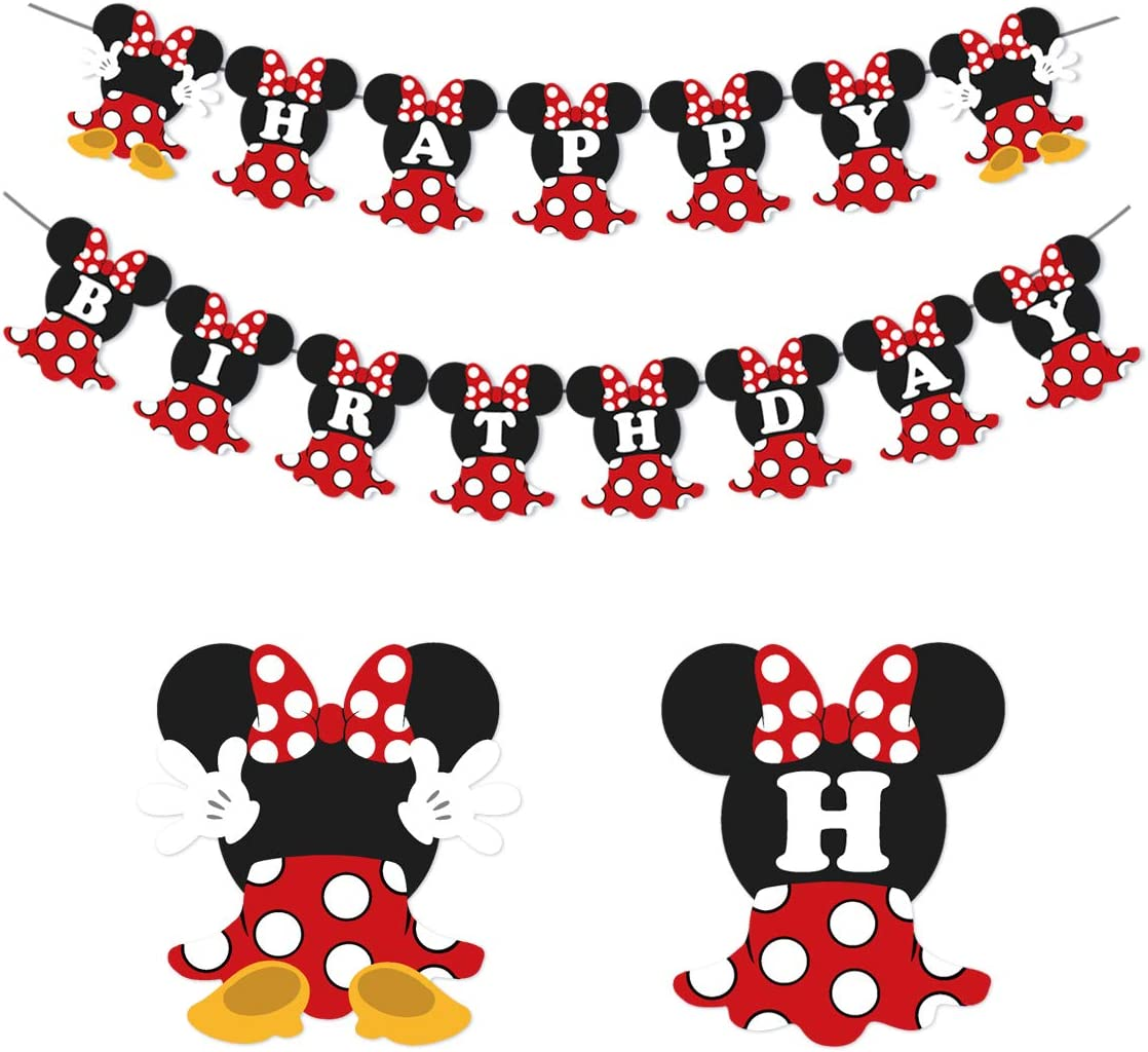 JOYMEMO Minnie Happy Birthday Banner Red and Black Minnie Mouse Party Supplies Birthday Party and Baby Shower Decorations for Girl
