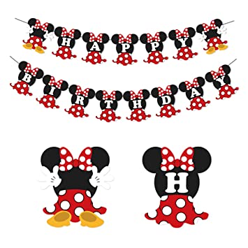 Amazon.com: Minnie Mouse Banner Birthday Party Supplies Red ...