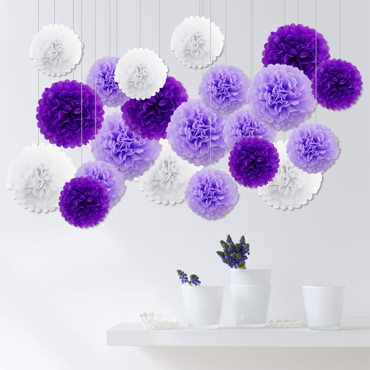 17x Wabenbälle Honeycomb Balls Pompoms Papier Fächer Girlande ...