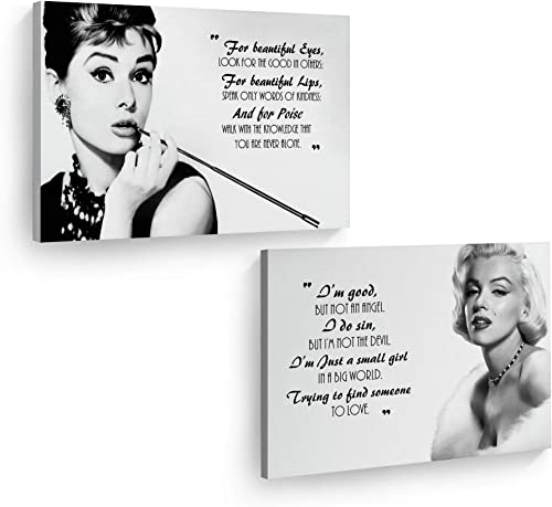 Smile Art Design Audrey Hepburn and Marilyn Monroe Quotes Wall Art Two Piece Set Canvas Print Iconic Art Home Decor Artwork Bedroom Living Room Wall Art Modern Room Decoration Ready to Hang 24×36