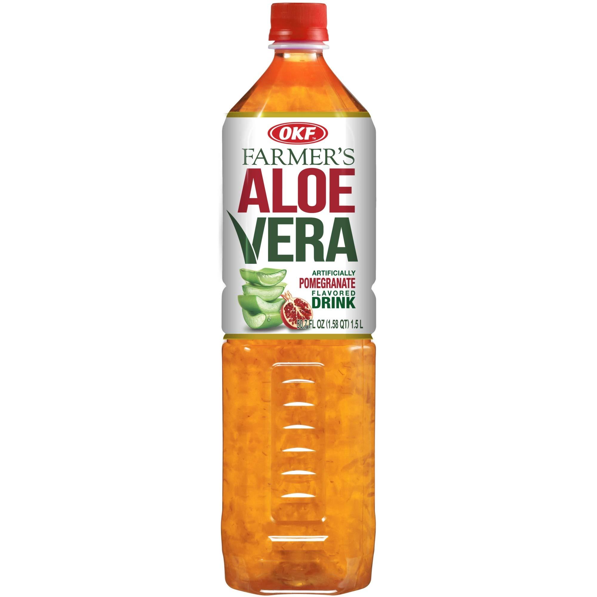 OKF Farmer's Aloe Vera Drink, Pomegranate, 1.5 Liter (Pack of 12) by OKF