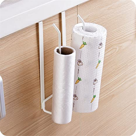 Toallero de hierro de doble fila para rollos de papel, soporte para cajón, armario, puerta, toallas; perchero para la cocina y el baño 26.7 x 6.7 x ...