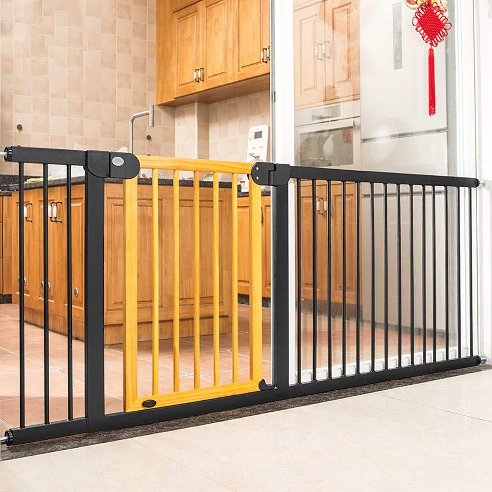 ベビーゲート 出入り口のための特別に広い赤ん坊の階段ゲート、自動閉鎖の通り抜け通路のドアが付いている壁の救済者のドッグゲート、195-202cm幅、木製の色   B07QRWFC6H