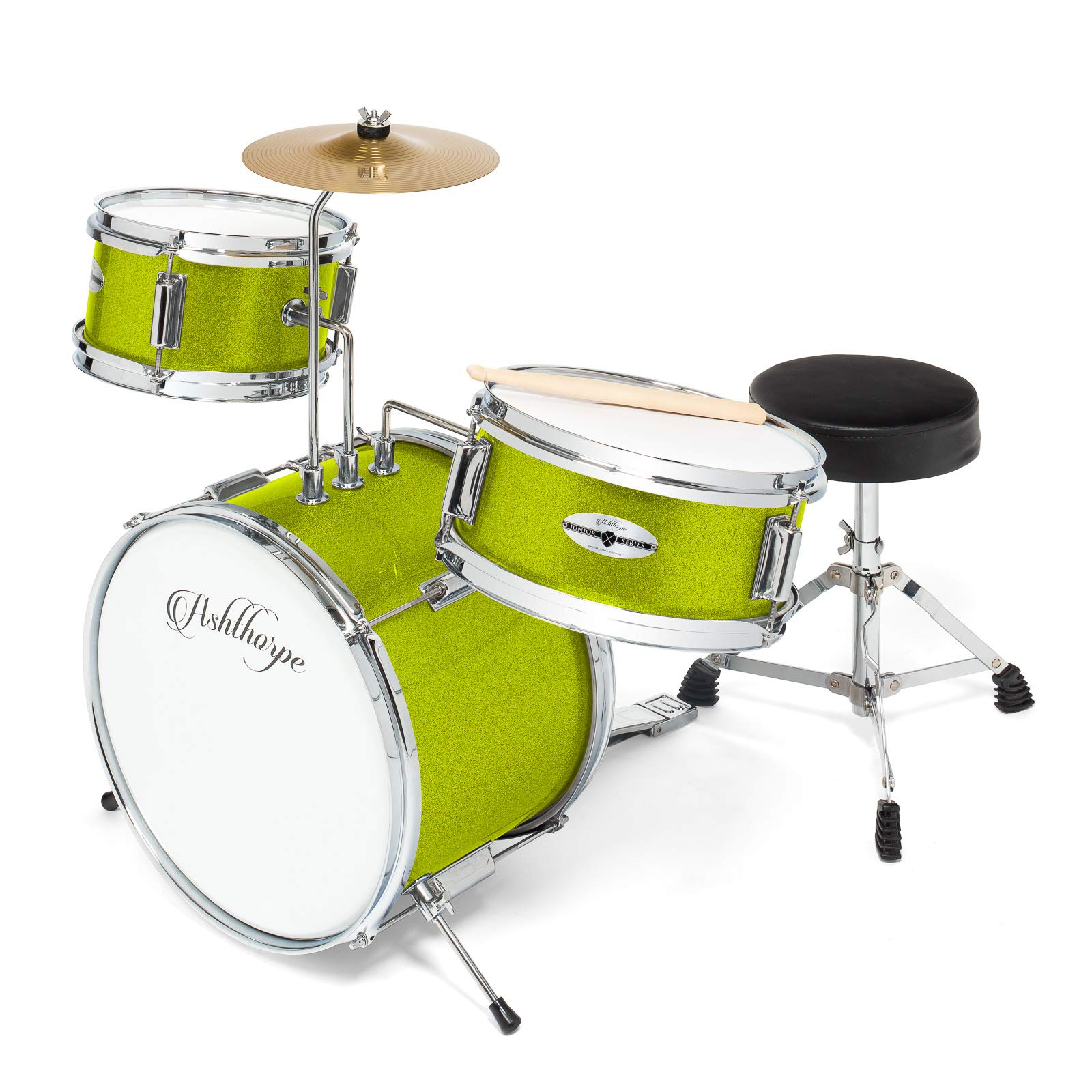 Ashthorpe 3-Piece Complete Kid's Junior Drum Set - Children's Beginner Kit with 14'' Bass, Adjustable Throne, Cymbal, Pedal & Drumsticks - Green