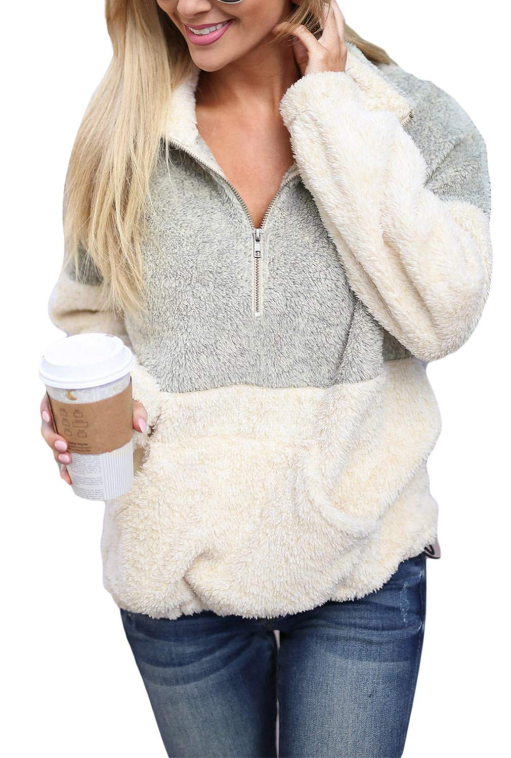 Dokotoo Womens Cozy Loose Casual Fuzzy Winter Sweater Soft Oversize Fluffy Fleece Color Block Sweatshirt Pullover Pockets Outwear Coat Light Grey Small