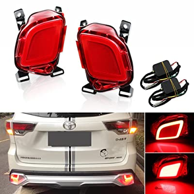 GTINTHEBOX LED Rear Bumper Reflector Brake Tail Lights for 2015-2020 Toyota Highlander,2 Pcs: Automotive