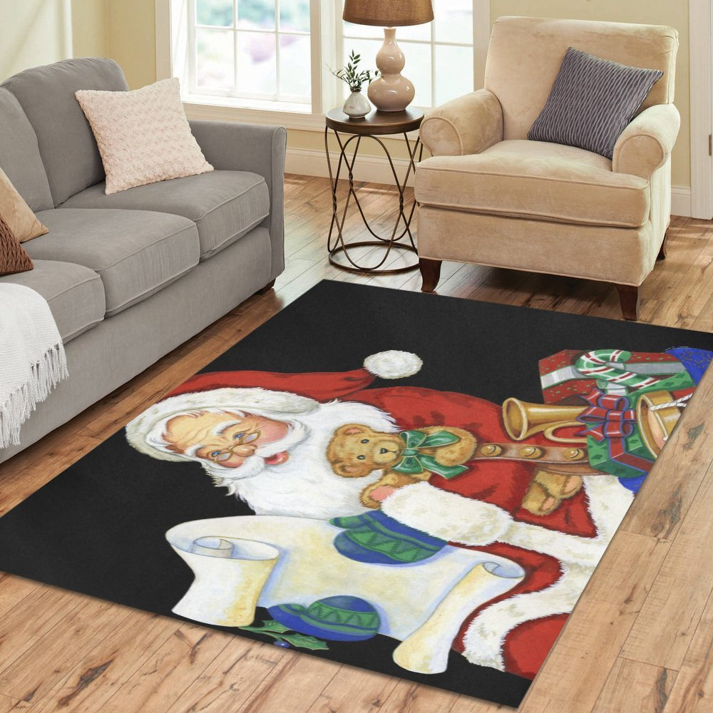 Love Nature Sweet Home Stores Collection Custom Christmas Santa Area Rug 7'x5' Indoor Soft Carpet
