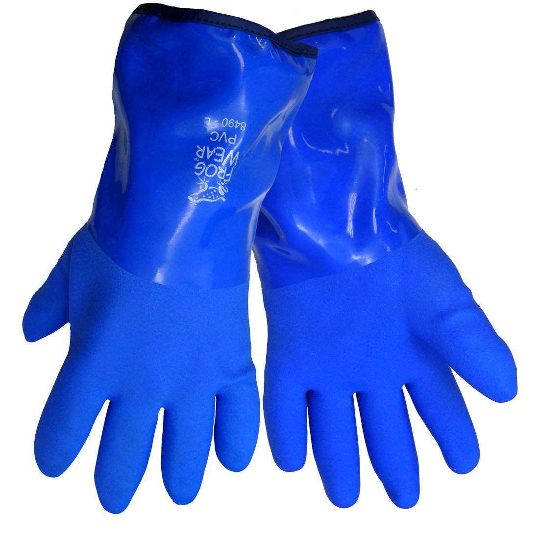 Global Glove 8490 FrogWear Insulated Flexible PVC Glove, Chemical Resistent, Extra Large, Blue (Case of 72)