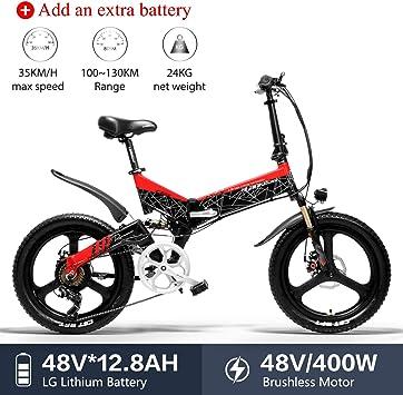 LANKELEISI G650 - Bicicleta eléctrica (20 x 2,4 Grande), para Adulto, Plegable, Bicicleta eléctrica de Ciudad, 400 W, 48 V, LG, batería de Litio Shimano, 7 velocidades, Rouge+ 1 Extra 12.8ah batterie: Amazon.es: Deportes y aire libre