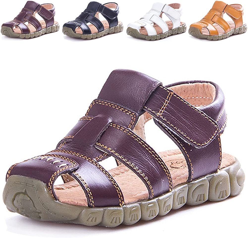 LONSOEN Leather Outdoor Sport Sandals,Fisherman Sandals for Boys Toddler//Little Kids