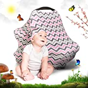 Cool Beans Baby Car Seat Canopy and Nursing Cover | Multiuse - Soft and Stretchy Fabric Easily Covers High Chairs, Shopping Carts, Car Seats | Bonus Infant Baby Beanie and Bag (Pink Chevron)