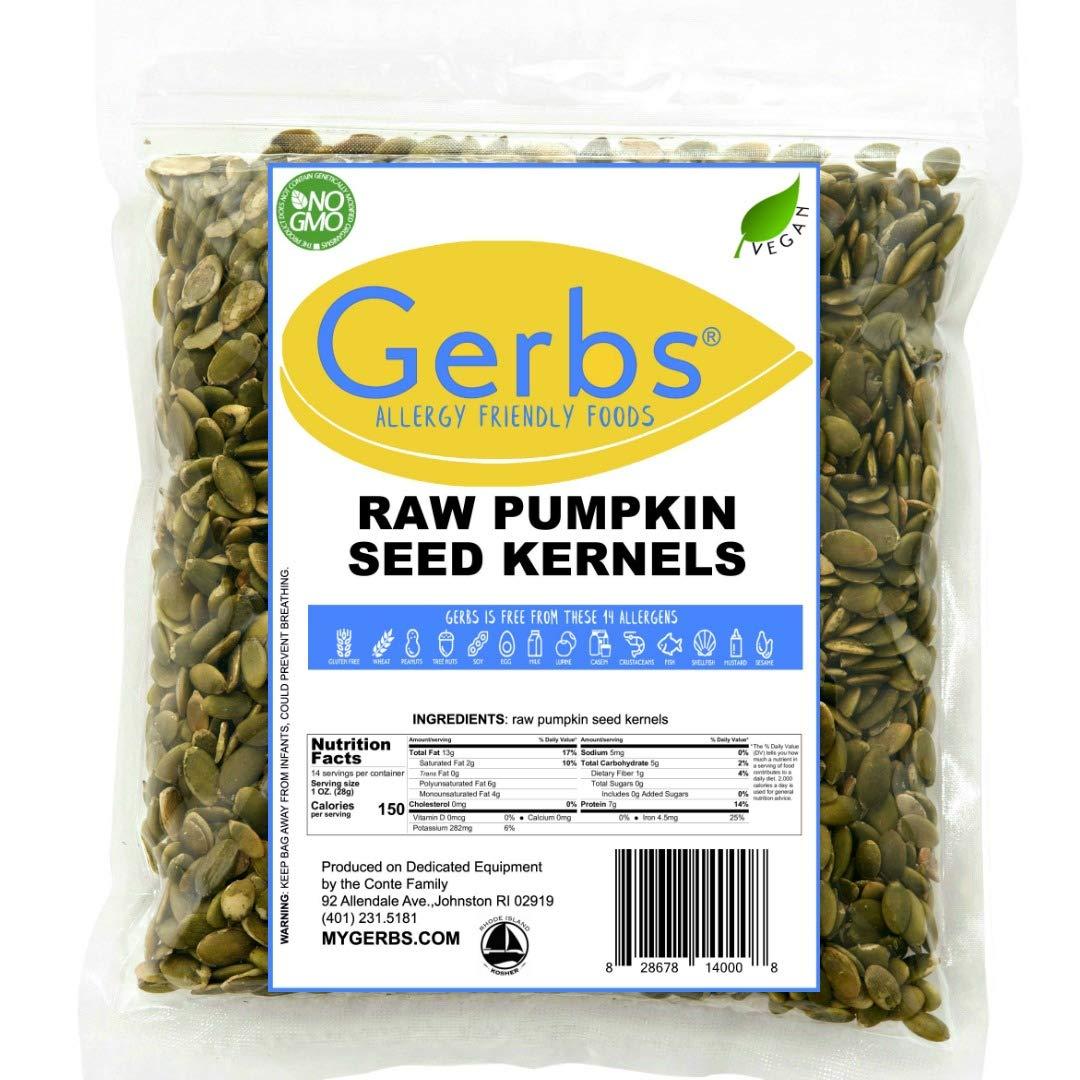 Gerbs Raw Pumpkin Seed Kernels, 14oz Closeable Bag, Top 14 Food Allergy Free