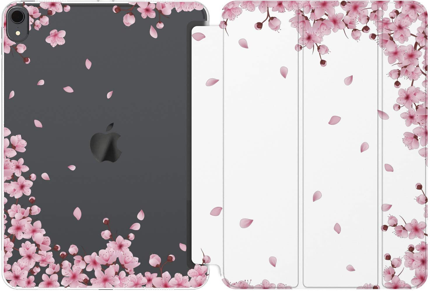 Cavka Case for Apple iPad Air 4th 2020 Gen 3th 10.2 12.9 Pro 11 10.5 9.7 Mini 5 4 3 2 1 Blossom Japanese Cherry Print Magnetic Closure Bloom Clear Flower Sakura Pink Smart Cover Spring