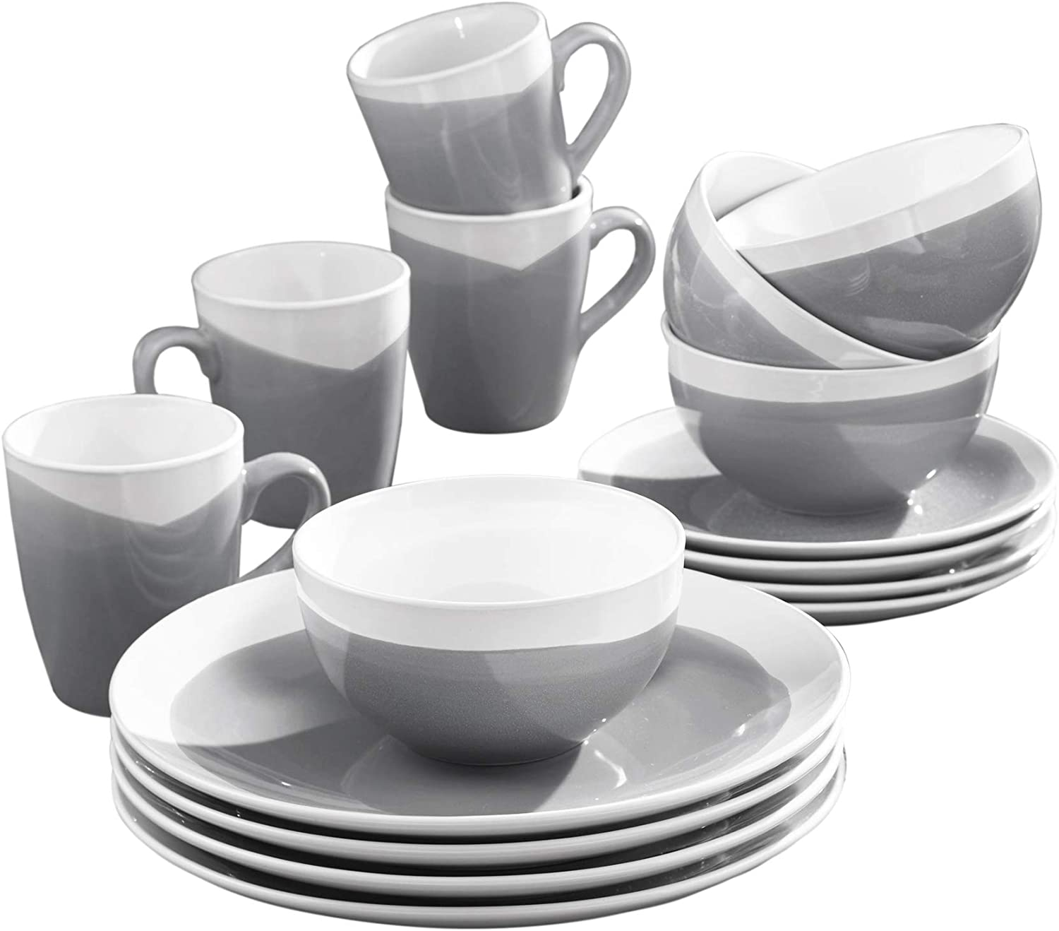 """American Atelier 7265-16-RB Oasis 16 Piece Round Dinnerware Set, 10.5x10.5"""", Charcoal"""
