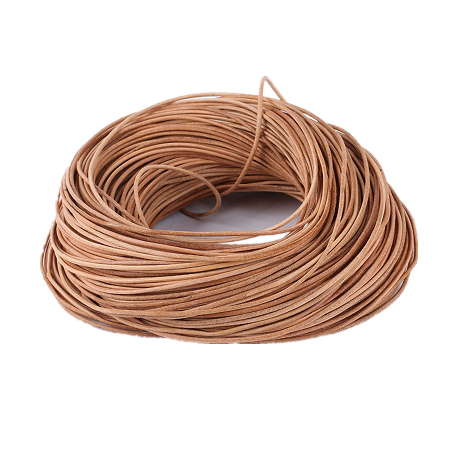 GraceAngie Genuine Leather Round 1mm Cords For Bracelet Neckacle Beading Jewelry Making 50 Yards (45 meter)