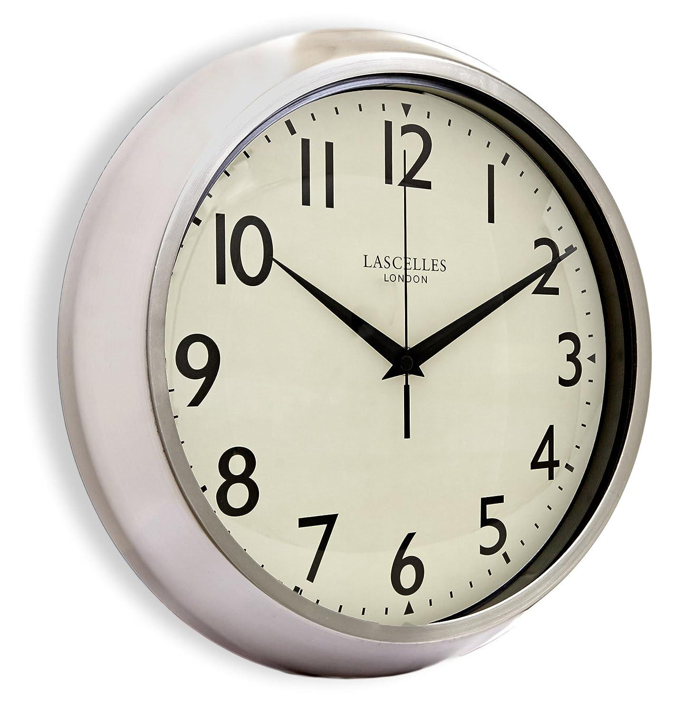 Amazon roger lascelles retro chrome wall clock with sweep amazon roger lascelles retro chrome wall clock with sweep seconds hand 118 inch home kitchen amipublicfo Gallery