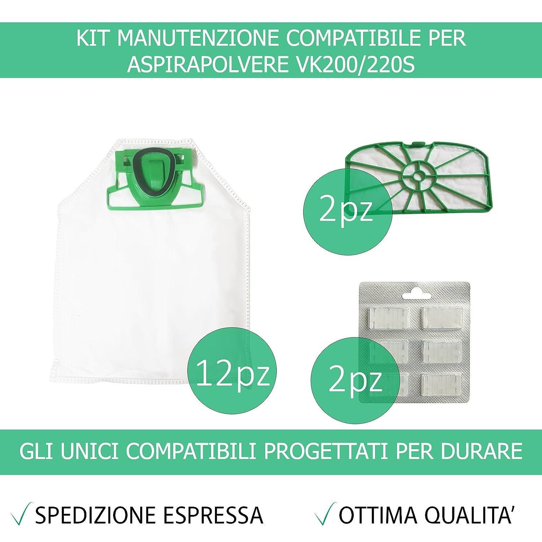 Kit 12 Sacchetti Compatibili Per Vorwerk Folletto VK200/220S + 12 Profumini + 2 Filtri Griglia Motore - Garanzia 24 Mesi Figevida