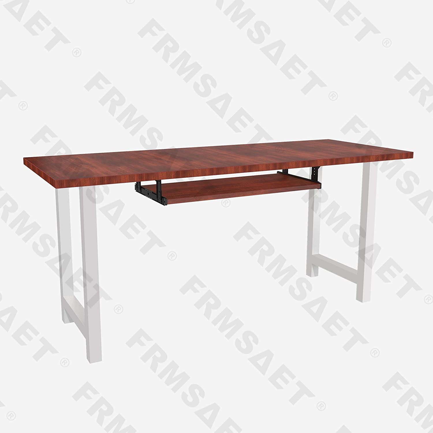 FRMSAET Furniture Accessories Office Product Suits Hardware 20//24//30 inches Keyboard Drawer Tray Wood Holder Under Desk Adjustable Height Platform. 24 inches, Mahogany