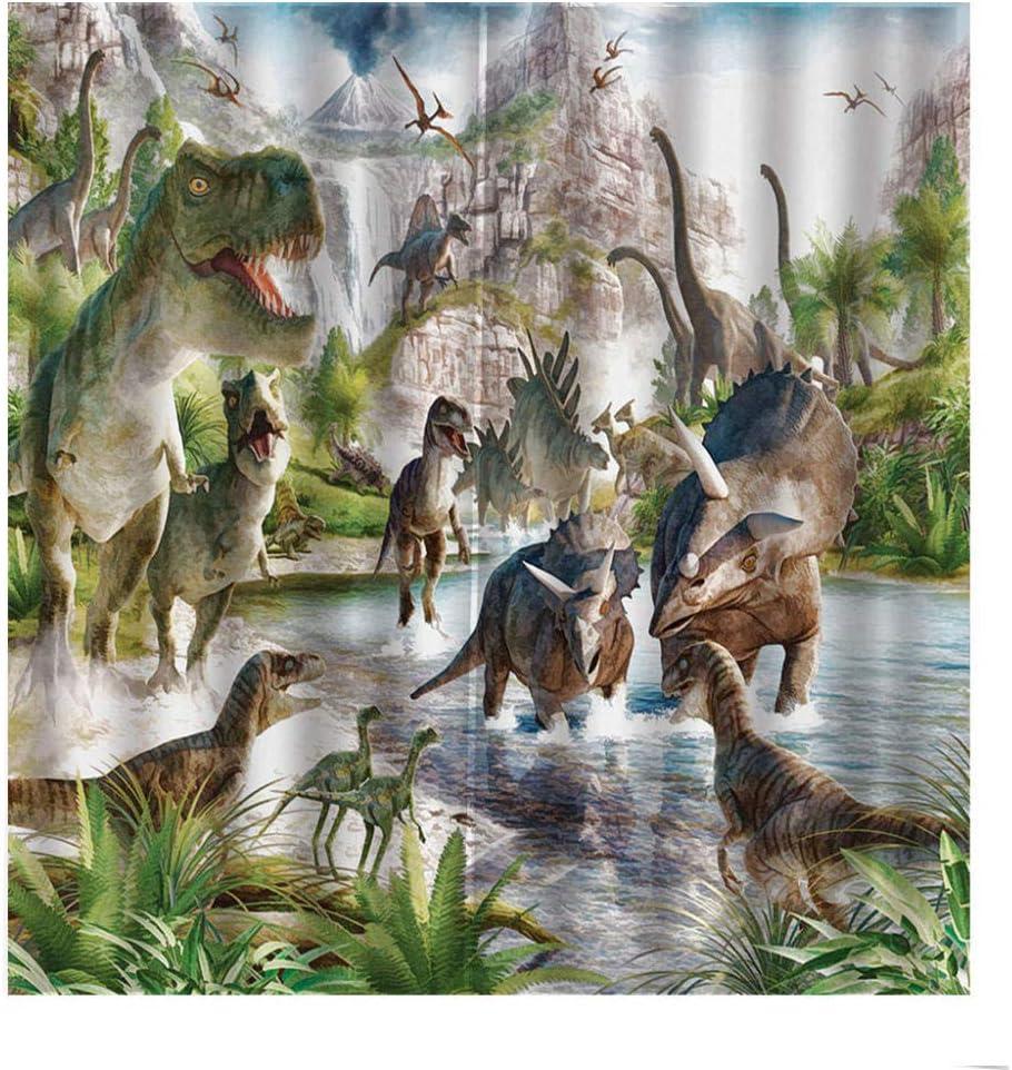 JFAFJ Blickdichte Vorh/änge mit /Ösen Dinosaurier Lange Verdunkelungsvorh/änge f/ür Kinderzimmer Wohnzimmer Gr/ö/ße:2 x B75 x H166cm