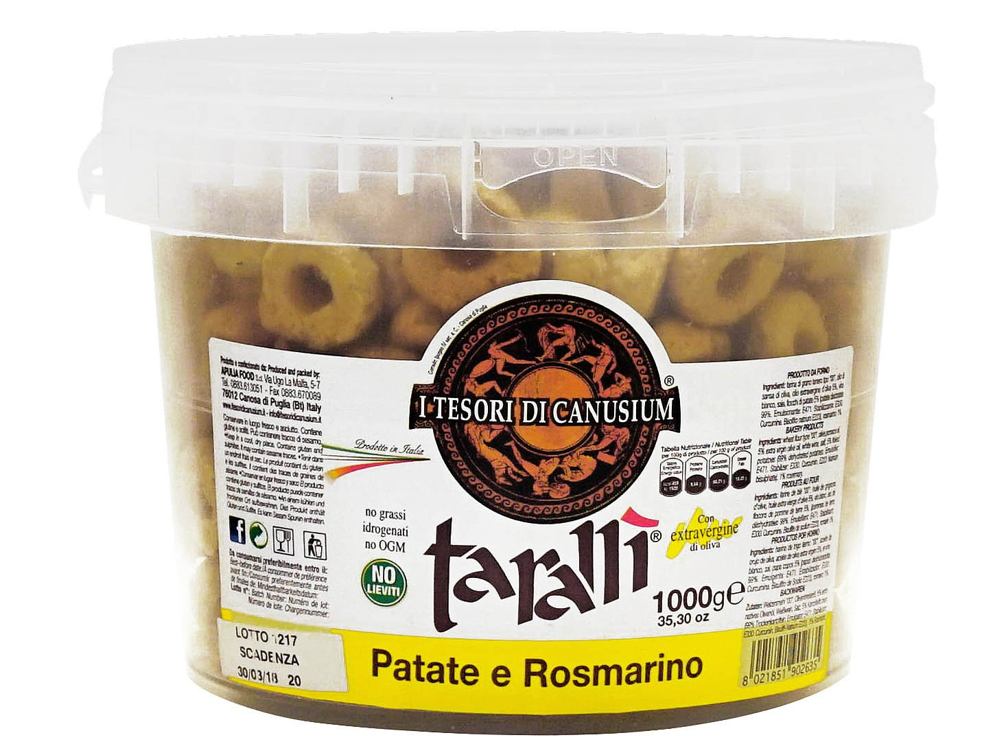 I Tesori di Canusium: ''Patate e Rosmarino'' Italian Taralli, Potatoes and Rosemary Taste - 35.3 Ounces (1000gr) Package [ Italian Import ]