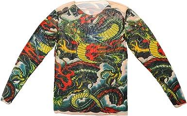 Prendas De Vestir La Camisa Del Tatuaje Del Acoplamiento Del Patrón Del Tigre Del Tatuaje De Manga Larga Vigorosa: Amazon.es: Ropa y accesorios