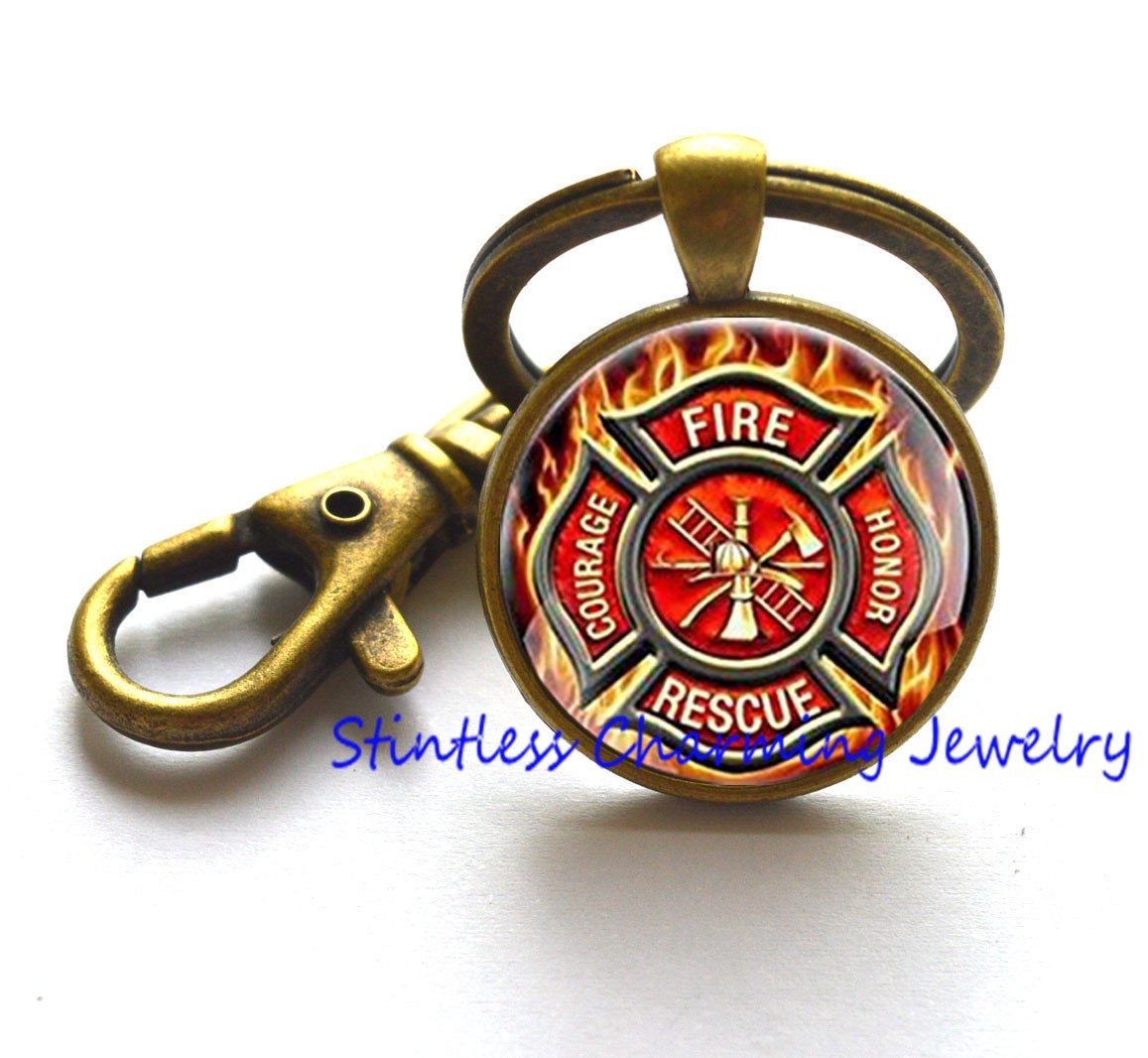 Retro Charming Fashion Fire Fighter Keychain Women Men Gift ,Fire Fighter Keychain Retro Gift,Unique Gift,religious Keychain stintless charming Jewelry