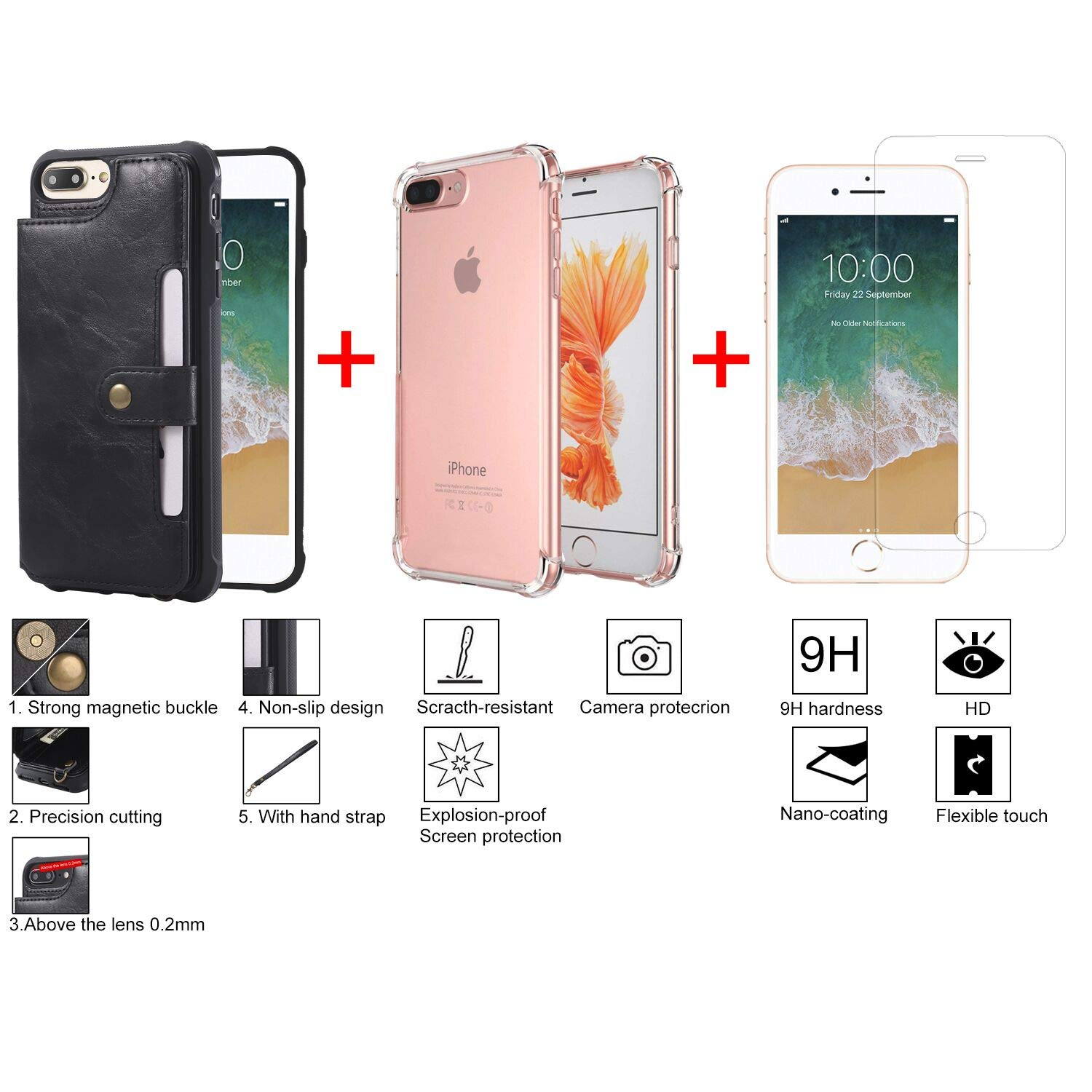 bangcool iPhone 8 Plus Wallet Case Credit Card Holder Slim Shockproof Flip Case Cover Compatible iPhone 7 Plus/8 Plus Clear Bumper Soft TPU Cover Case Screen Protector Glass