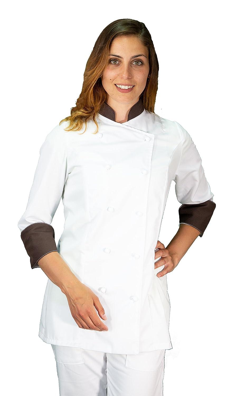 Made in Italy giacca cuoco casacca chef donna bianca e nera tessile astorino Ricamo Gratuito