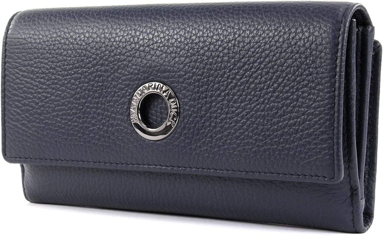 Mandarina Duck Mellow Leather Wallet with Flap L Dress Blue