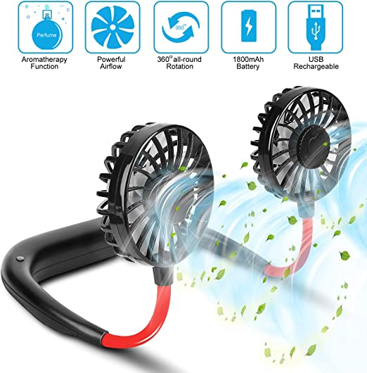 4 MINI HANDS FREE PERSONAL cooling FAN NECKLACE summer air beach tools fans NEW