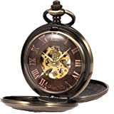 Manchda メンズ 蒸気時代 復古風 二重カバー 蒸気機関車 木目 ローマ数字 手巻き 機械式 ブロンズ色 懐中時計