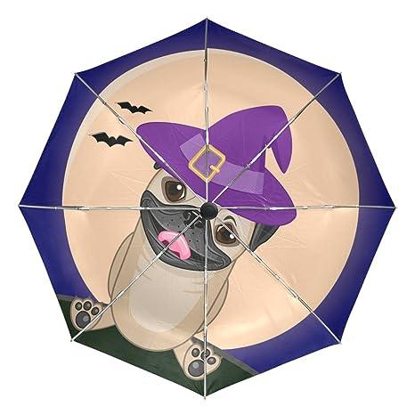 COOSUN Halloween del perro del barro amasado En Sombrero automático 3 plegable del paraguas del parasol