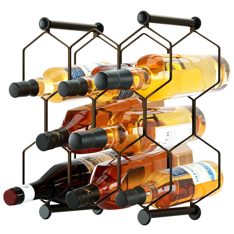 Tabletop Wine Rack, Free Standing Countertop Wine Holder, Honeycomb Design, 8-Bottle, Metal (Brown) by SRIWATANA