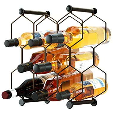 RooLee Tabletop Wine Rack, Free Standing Countertop Wine Holder, Honeycomb Design, 8-Bottle, Metal (Brown)