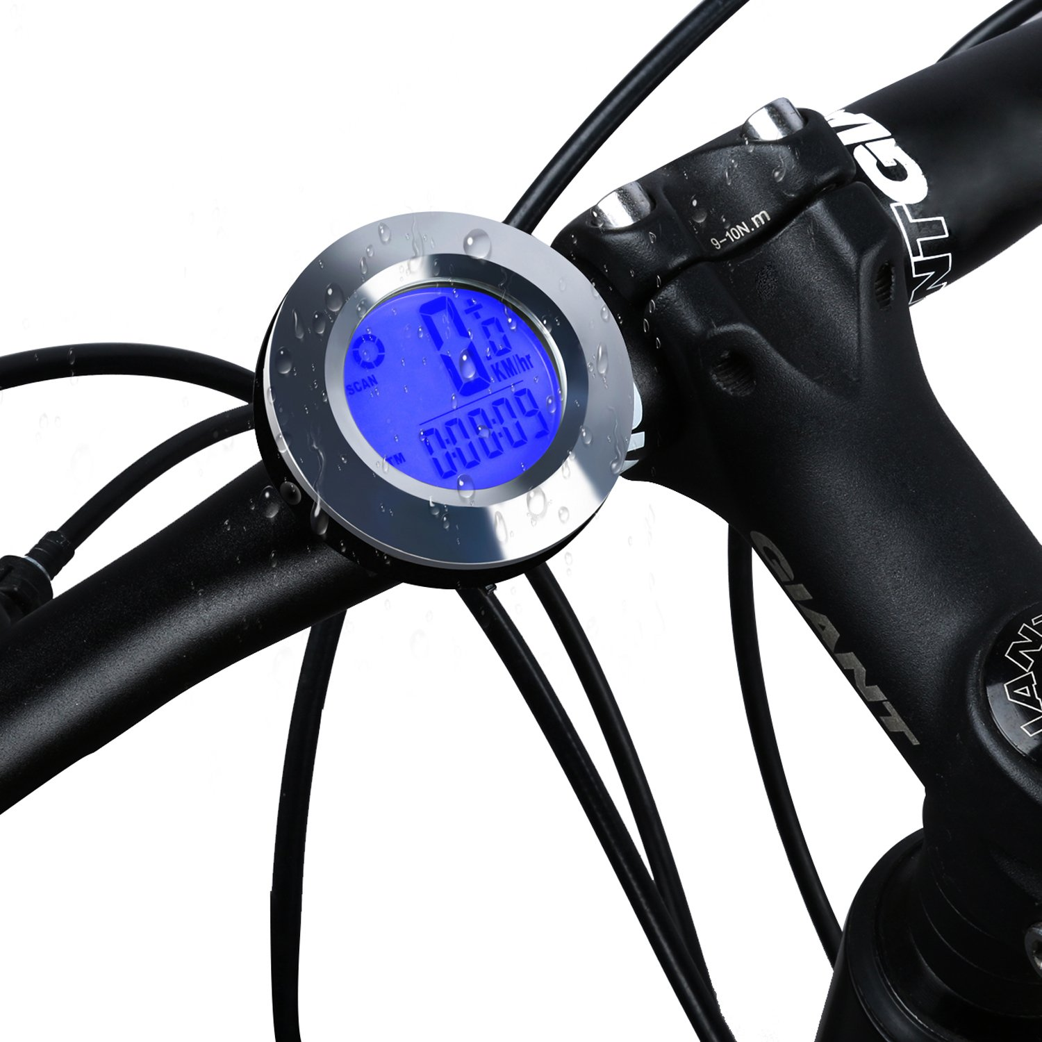 ICOCOPRO Bike Speedometer and Odometer Wireless - Flexible Round Shape,Waterproof Cycle Computer with LCD Backlight Display Multi-Function Bicycle Computer